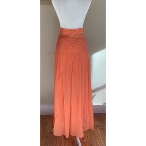 Anthropologie Mauve  Long  Orange Maxi Skirt Sz Xs